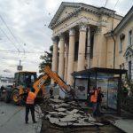 На площади Восставших меняют тротуары