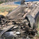 В Крыму BMW вылетел с дороги, перевернулся и упал на пляж