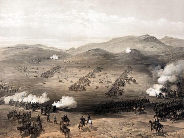 Картина «Атака лёгкой кавалерии под Балаклавой» Вильяма Симпсона (1855)