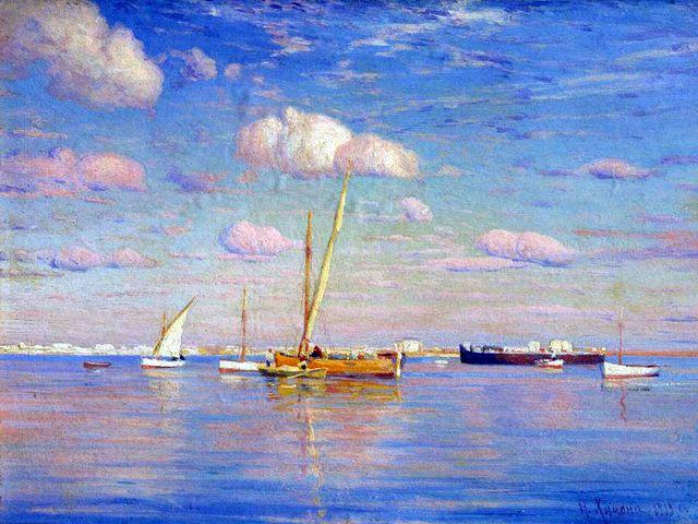 """""""Лодки в море"""" Николай Химона 1919 год"""