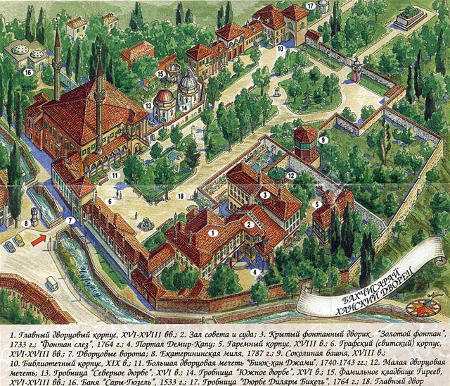План-схема ханского дворца в Бахчисарае