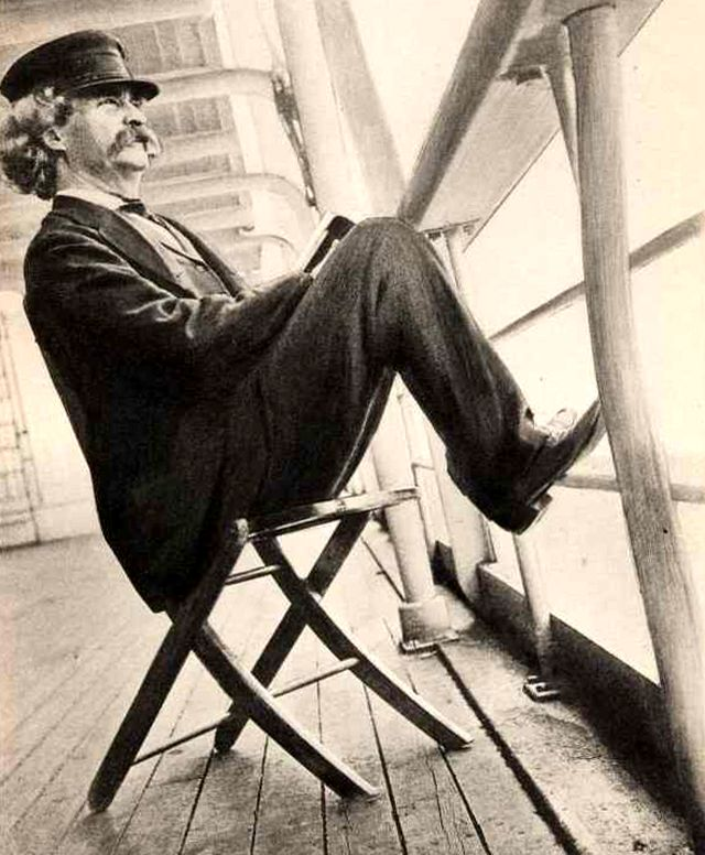 Марк Твен на борту парахода