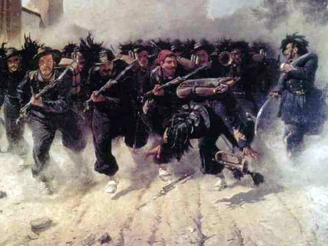 Сардинийская пехота в атаке