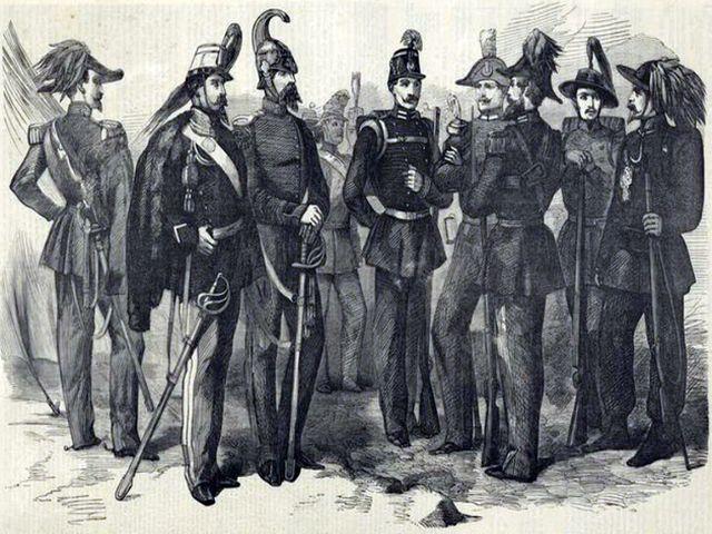 Офицеры Сардинского корпуса. Старинная гравюра