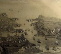 Литография: перспектива города гавани и укреплений Севастополя
